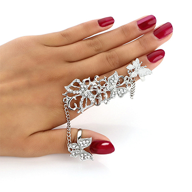 Rhinestone Detail Silver Butterfly Design Ring