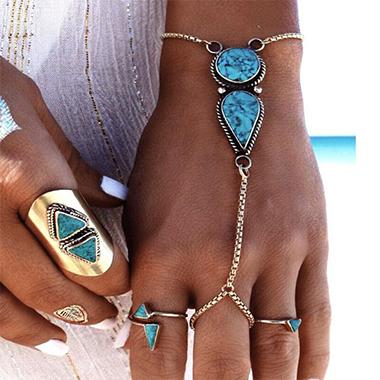 Silver Metal Detail Turquoise Bohemia Bracelet