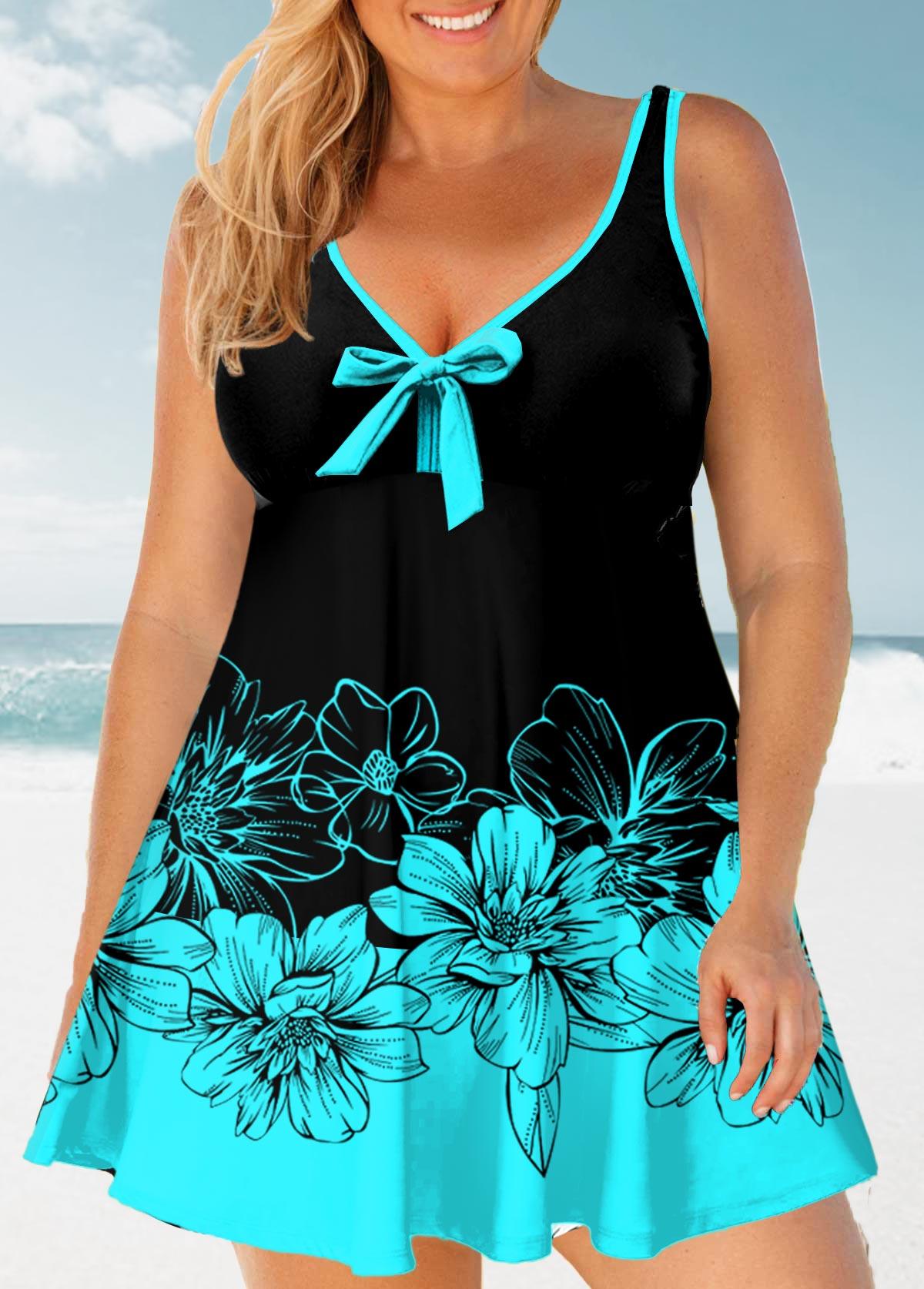 ROTITA Floral Print Plus Size Bowknot Swimwear Top