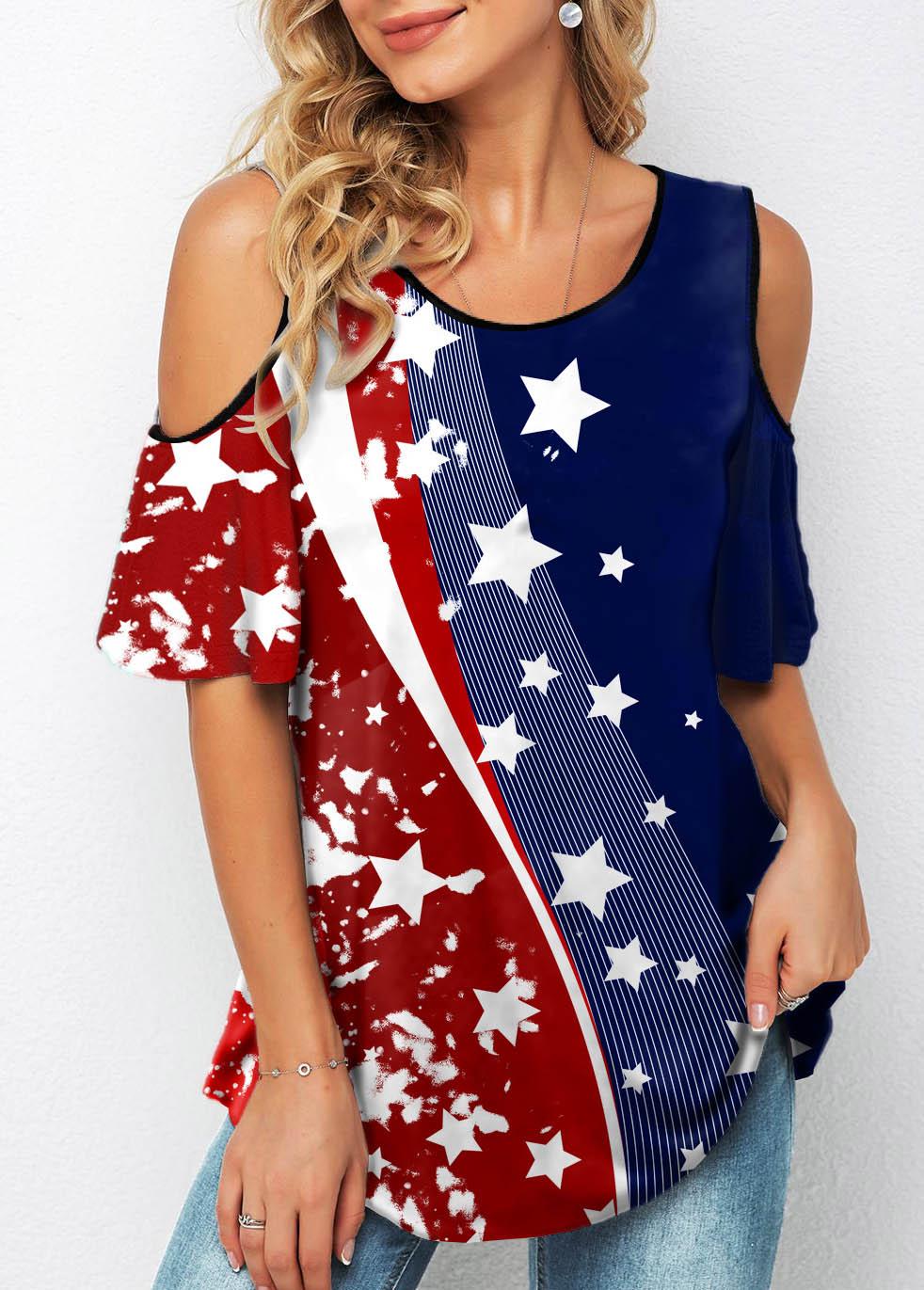 ROTITA Cold Shoulder American Flag Print Half Sleeve T Shirt