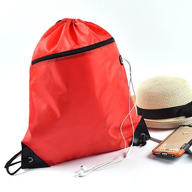 Earphone Hole Design Drawstring Detail Backpack