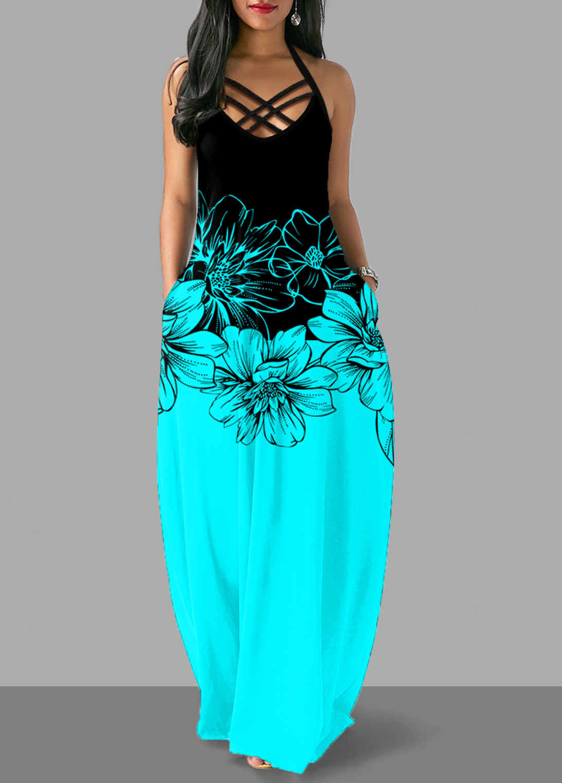 ROTITA Cross Strap Halter Floral Print Maxi Dress