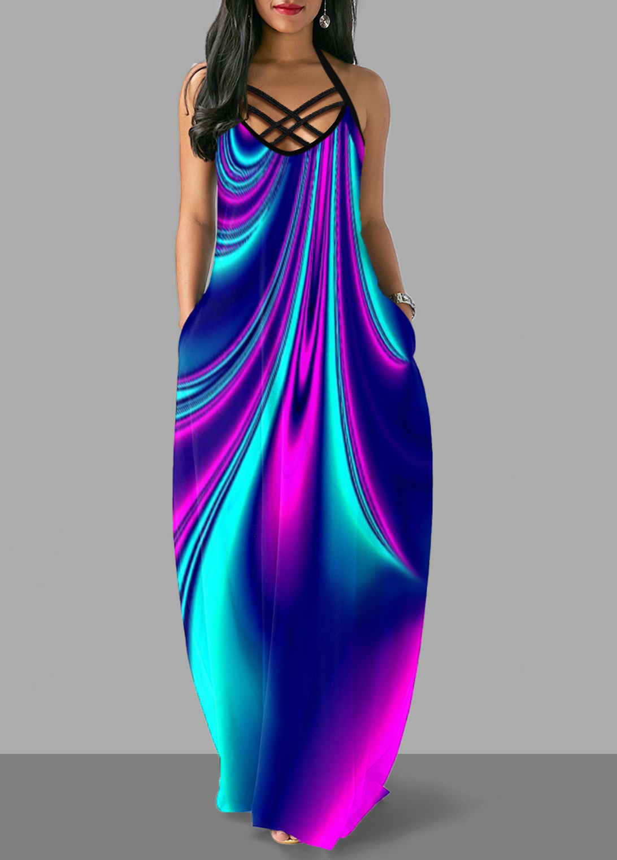 ROTITA Cross Strap Colorful Pocket Maxi Dress