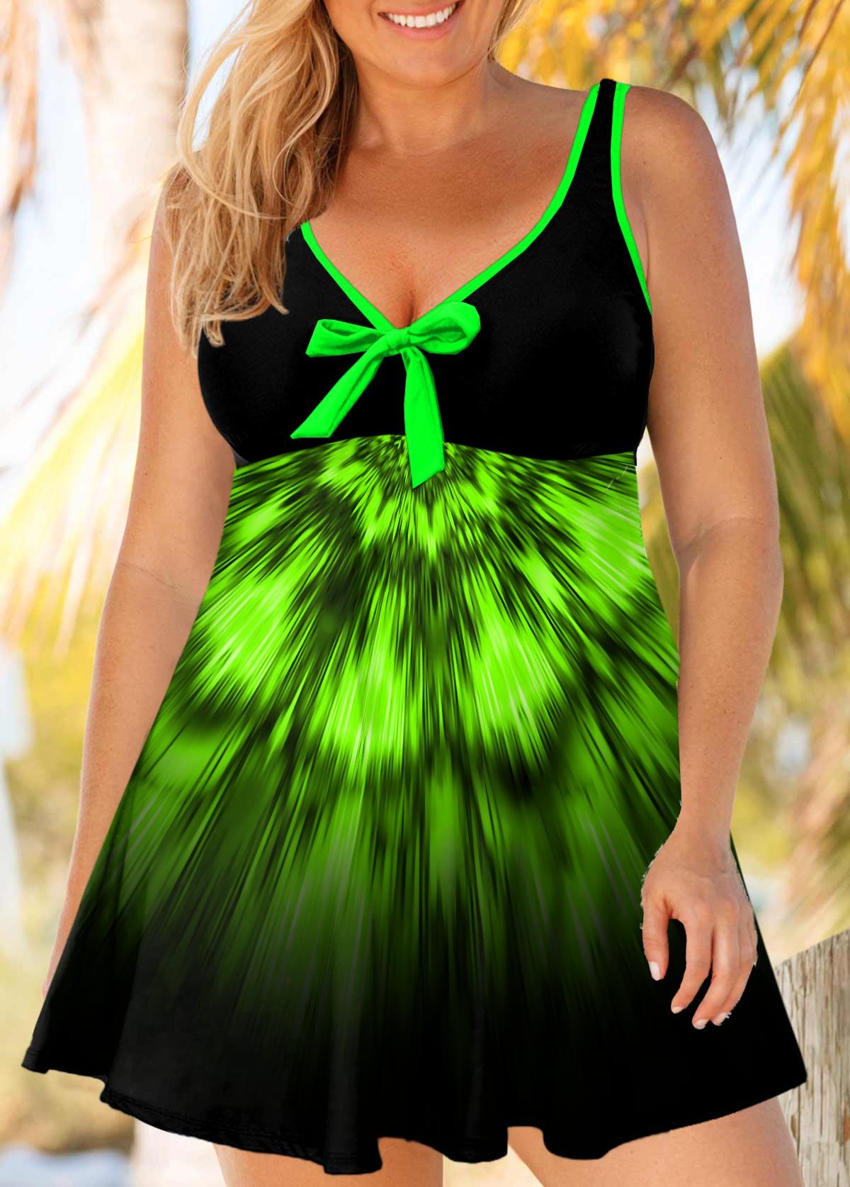 ROTITA Plus Size Bowknot Ombre Print Swimdress and Panty
