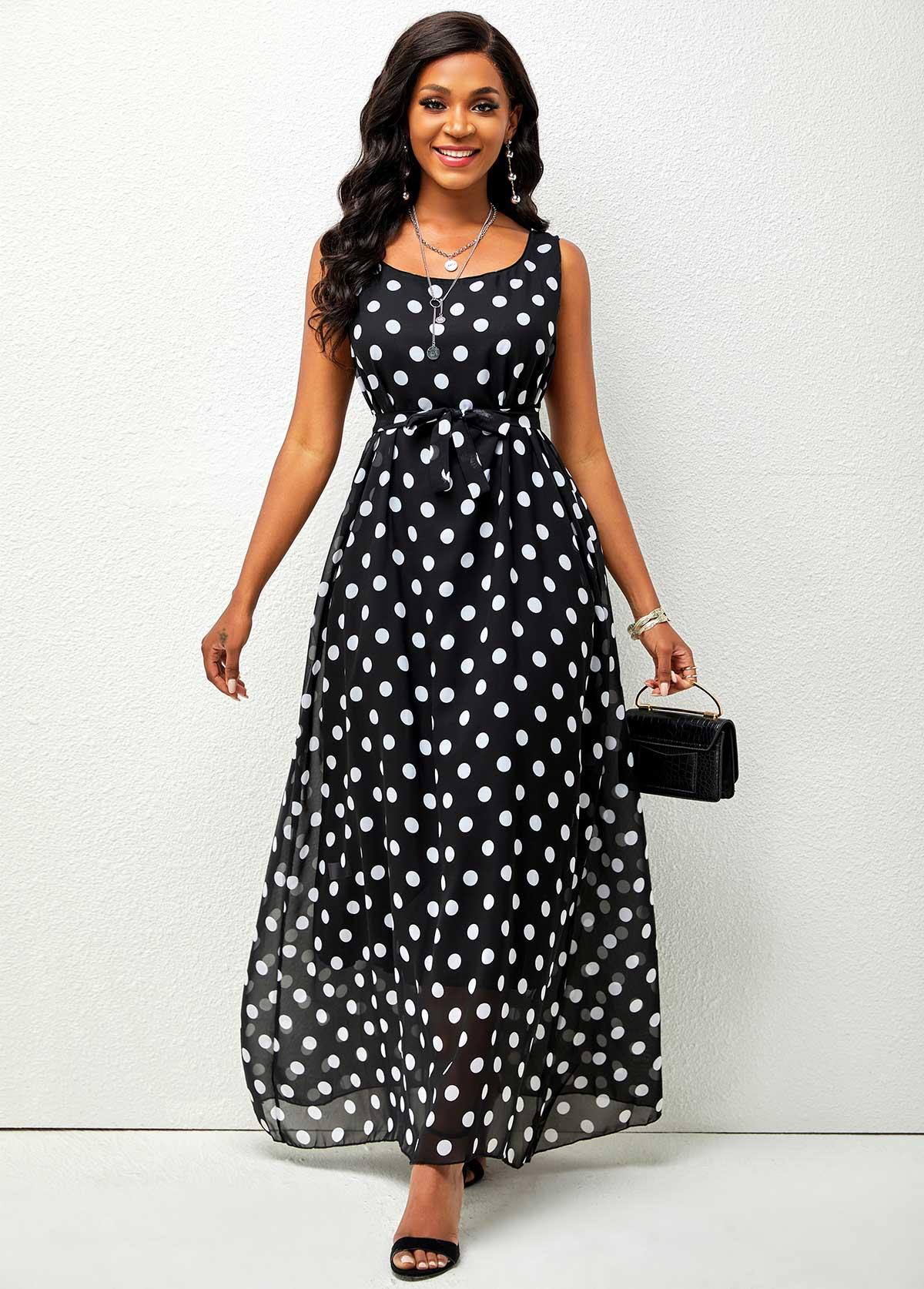 Chiffon Polka Belted Dot Maxi Dress