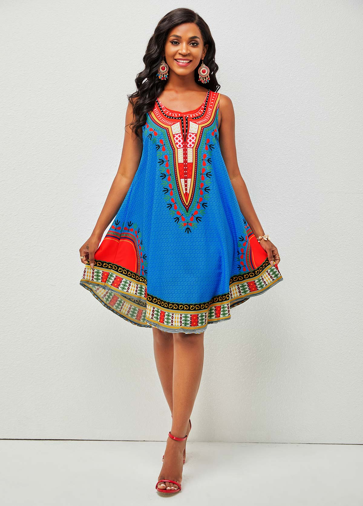 Tribal Print Wide Strap Round Neck Dress