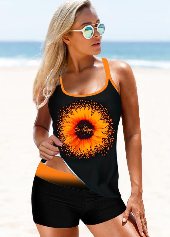 ROTITA Cross Strap Sunflower Print Mid Waist Tankini Set