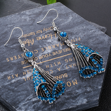 Blue Rhinestone Detail Metal Detail Earring Set