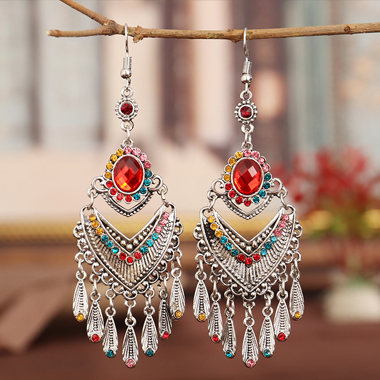 Rhinestone Detail Tribal Design Tassel Earring Set