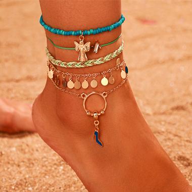 Metal Beads Detail Weave Design Anklets