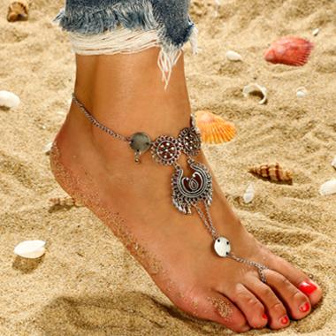 Hollow Design Silver Metal Detail Anklet