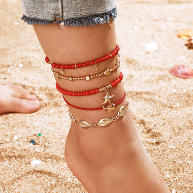 Shell Design Red Bead Metal Detail Anklets