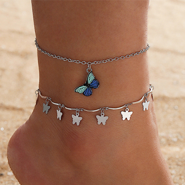 Silver Butterfly Design Metal Detail Anklets