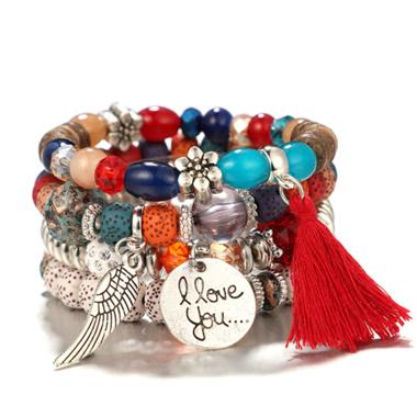 Buddha Bead Feathers Design Bohemia Tassel Detail Bracelets