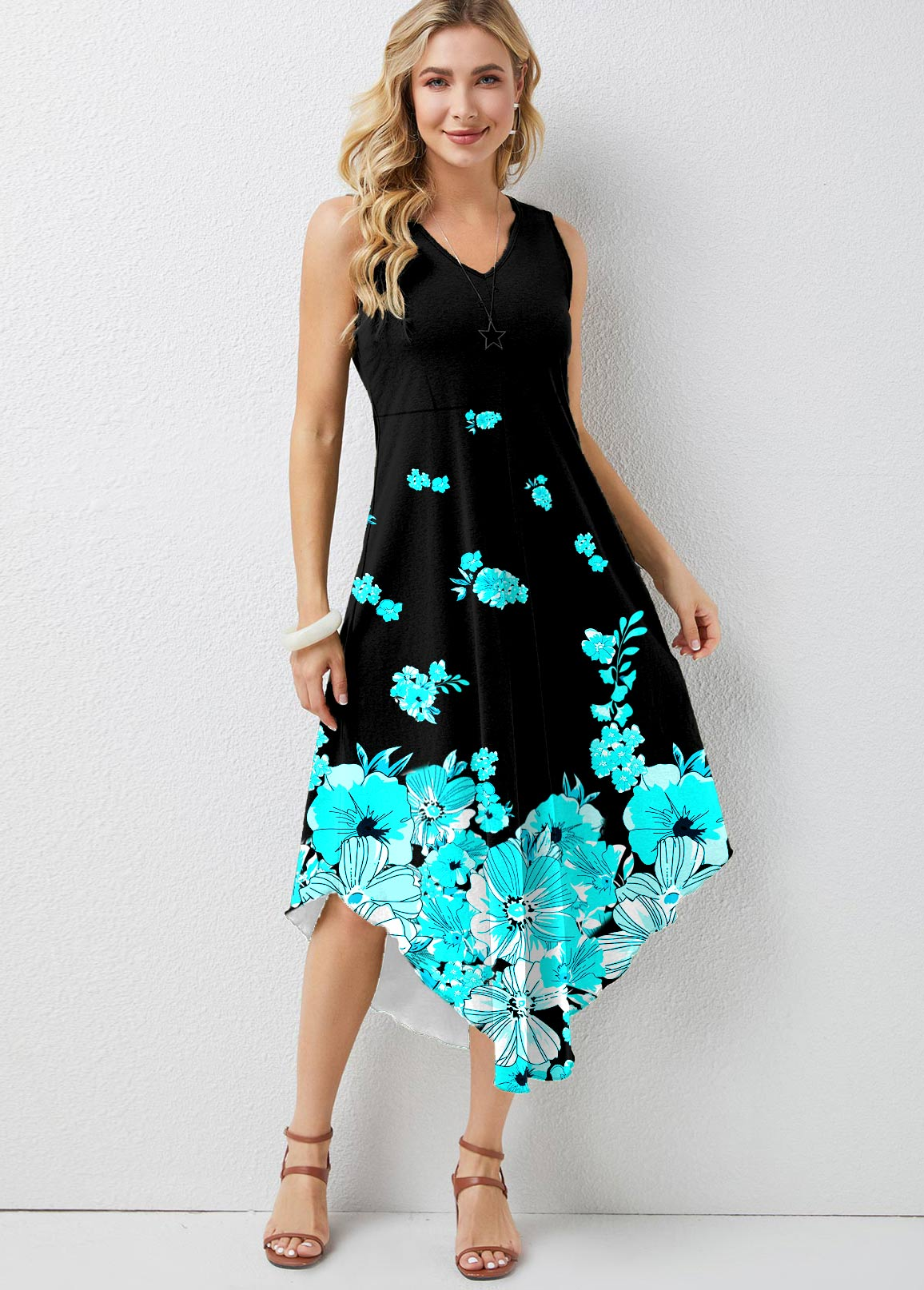 ROTITA Floral Print Ombre V Neck Dress