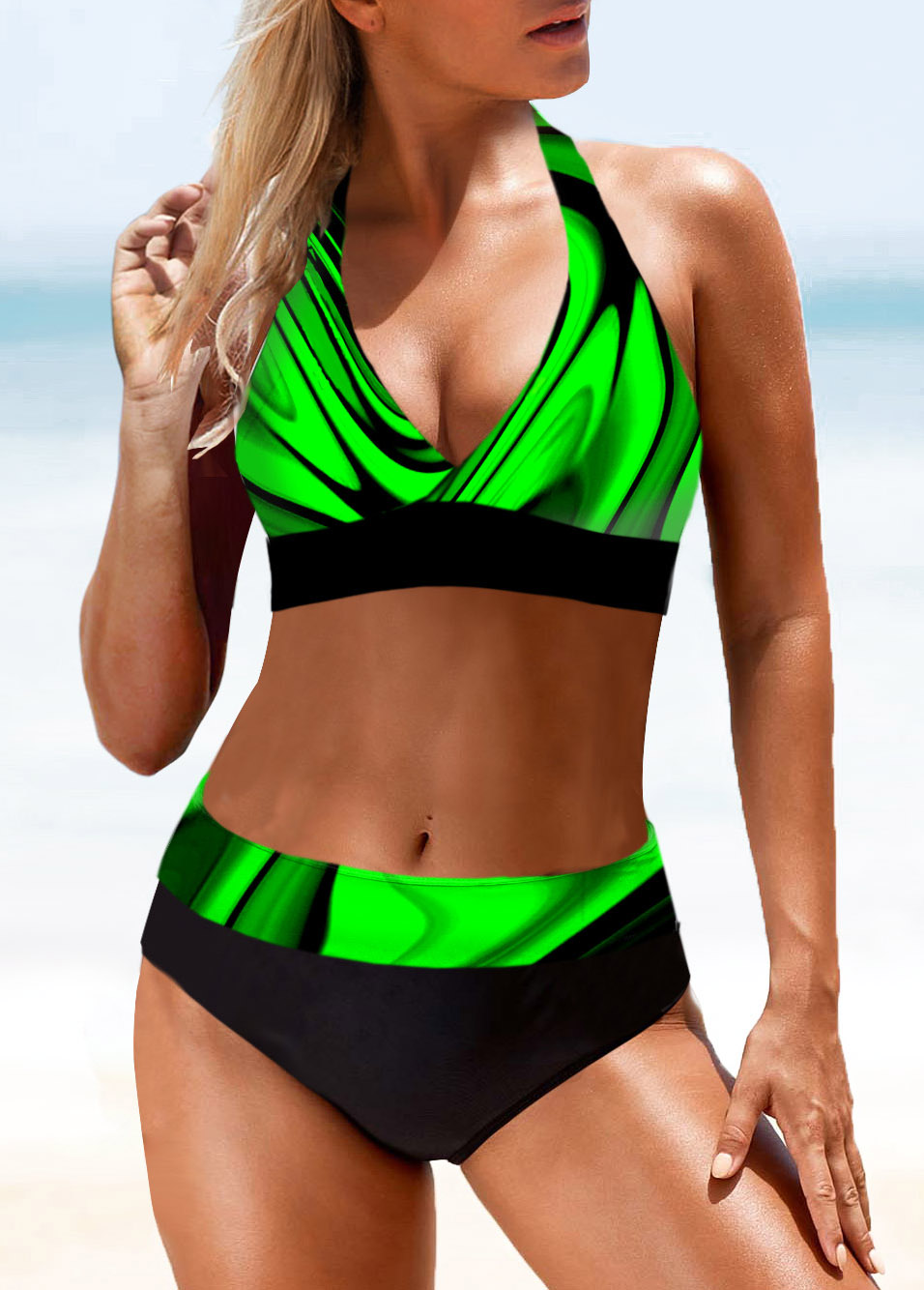 ROTITA Mid Waist Printed Halter Bikini Set