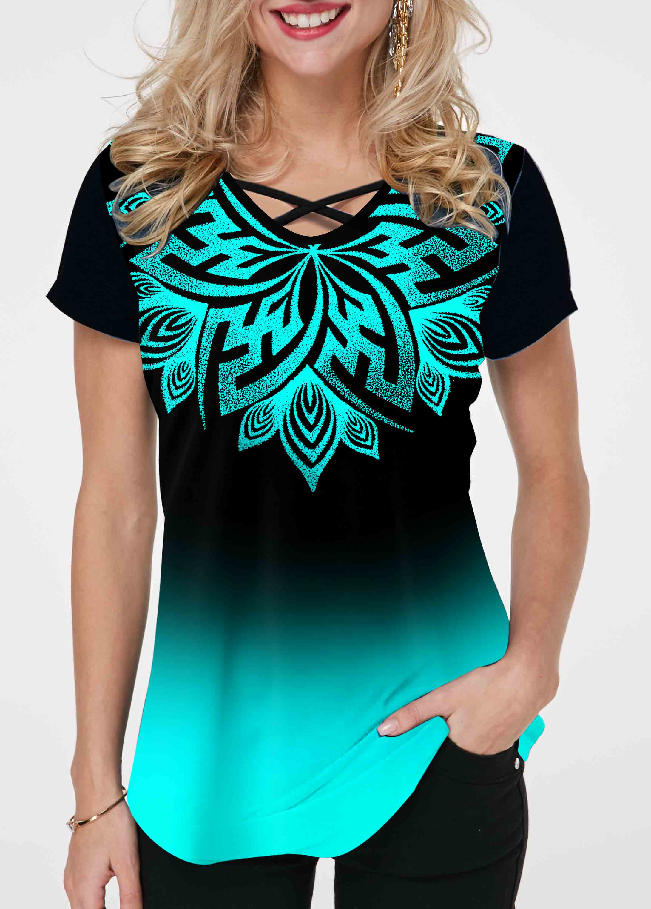 ROTITA Ombre Tribal Print Cross Strap T Shirt