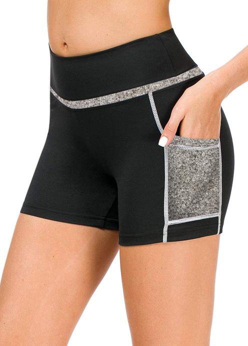 ROTITA Mid Waist Patchwork Pocket Sports Bottom
