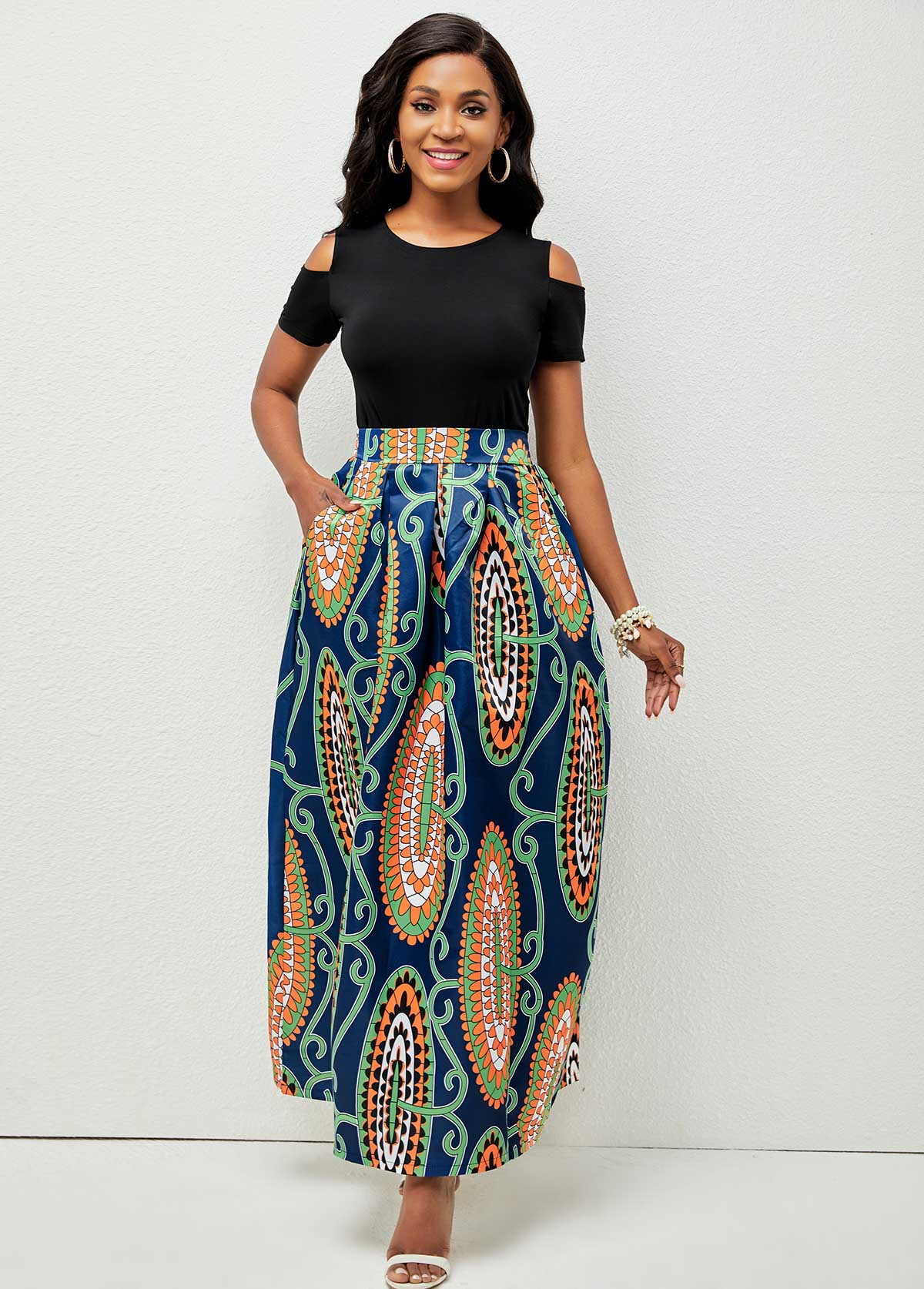 Cold Shoulder Printed Round Neck Two Piece Dress