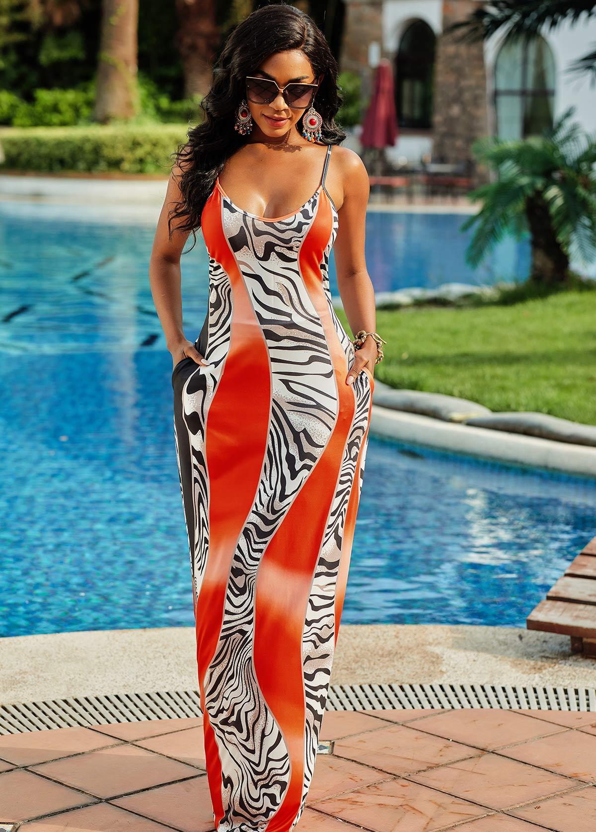 Spaghetti Strap Pocket Zebra Print Dress