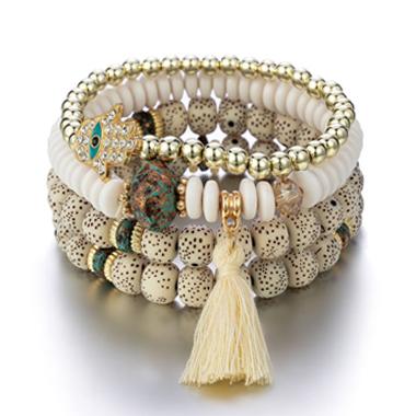 Tassel Detail Layered Bodhi Design Bracelets