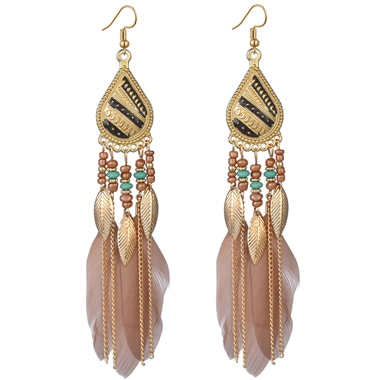 Khaki Feather Design Bohemian Earring Set
