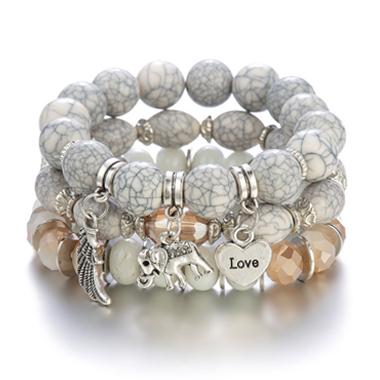 Elephant Design Layered Acrylic Detail Bracelets