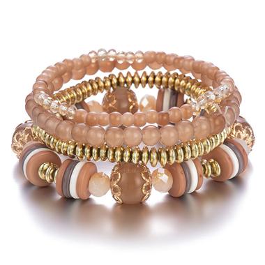 Layered Design Crystal Detail Khaki Bracelets
