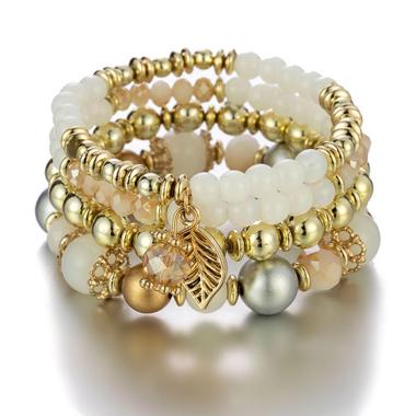 Leaf Design Layered Crystal Detail Bracelets