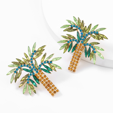 Rhinestone Detail Coconut Tree Design Earring Set