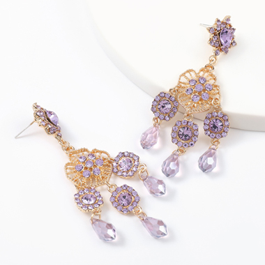 Metal and Acrylic Detail Rhinestone Design Earring Set