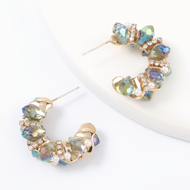 Acrylic Detail Rhinestone Design Earring Set