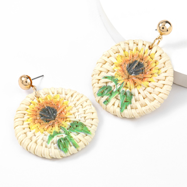 Sunflower Print Rattan Weave Bohemia Earring Set
