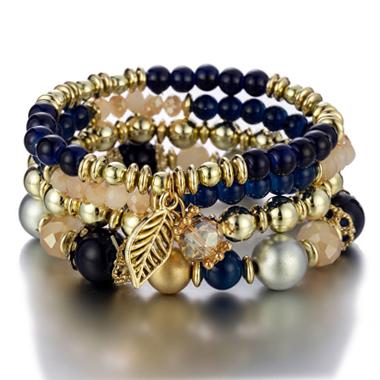 Navy Blue Leaf Design Bracelets for Women