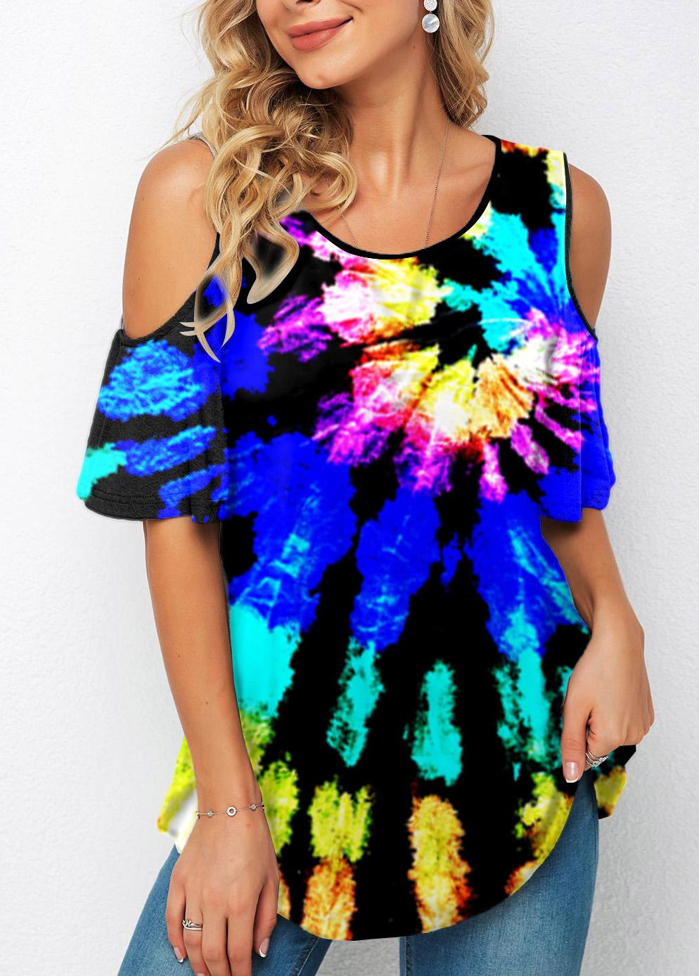 ROTITA Cold Shoulder Tie Dye Print T Shirt