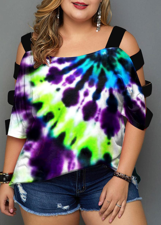 ROTITA Colorful Plus Size Tie Dye Print T Shirt