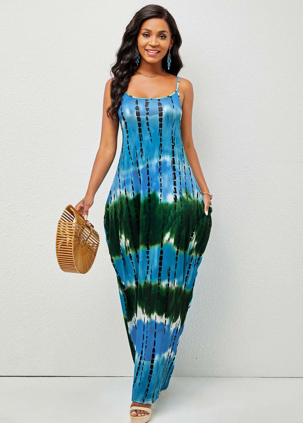 Pocket Tie Dye Print Spaghetti Strap Dress