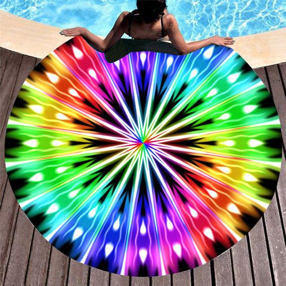 ROTITA Circular Design Multi Color Beach Blanket