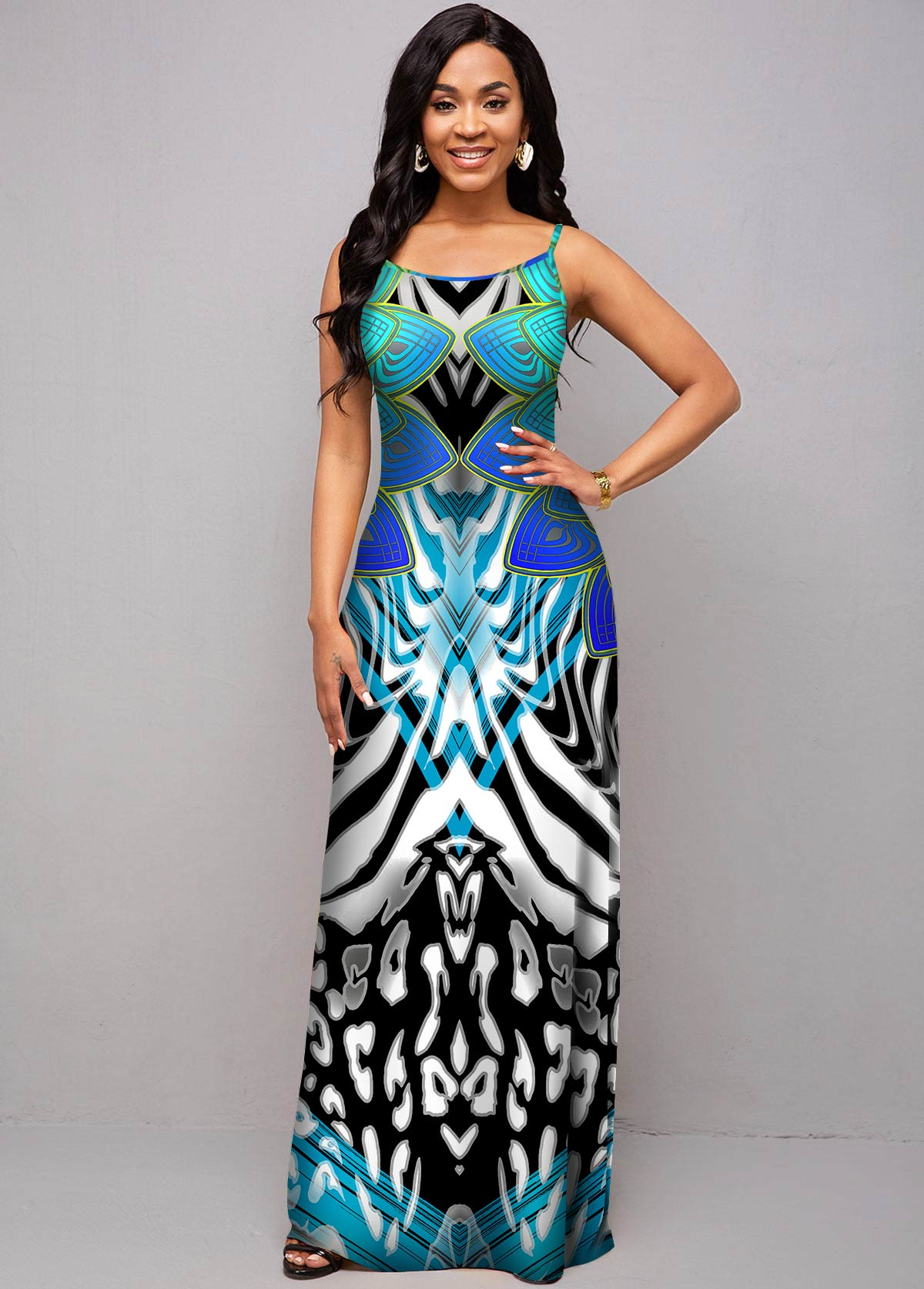ROTITA Spaghetti Strap Leopard and Tribal Print Dress