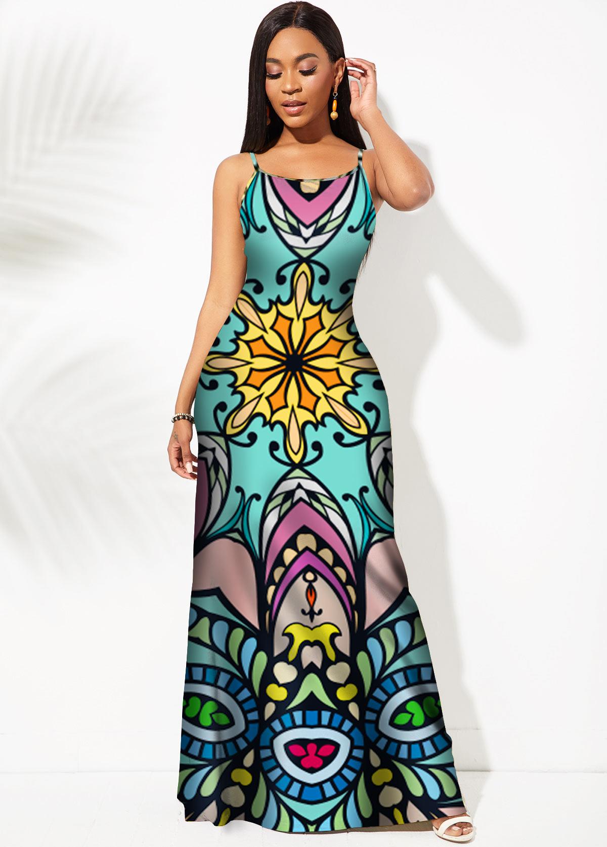 ROTITA Tribal Print Spaghetti Strap Mermaid Dress