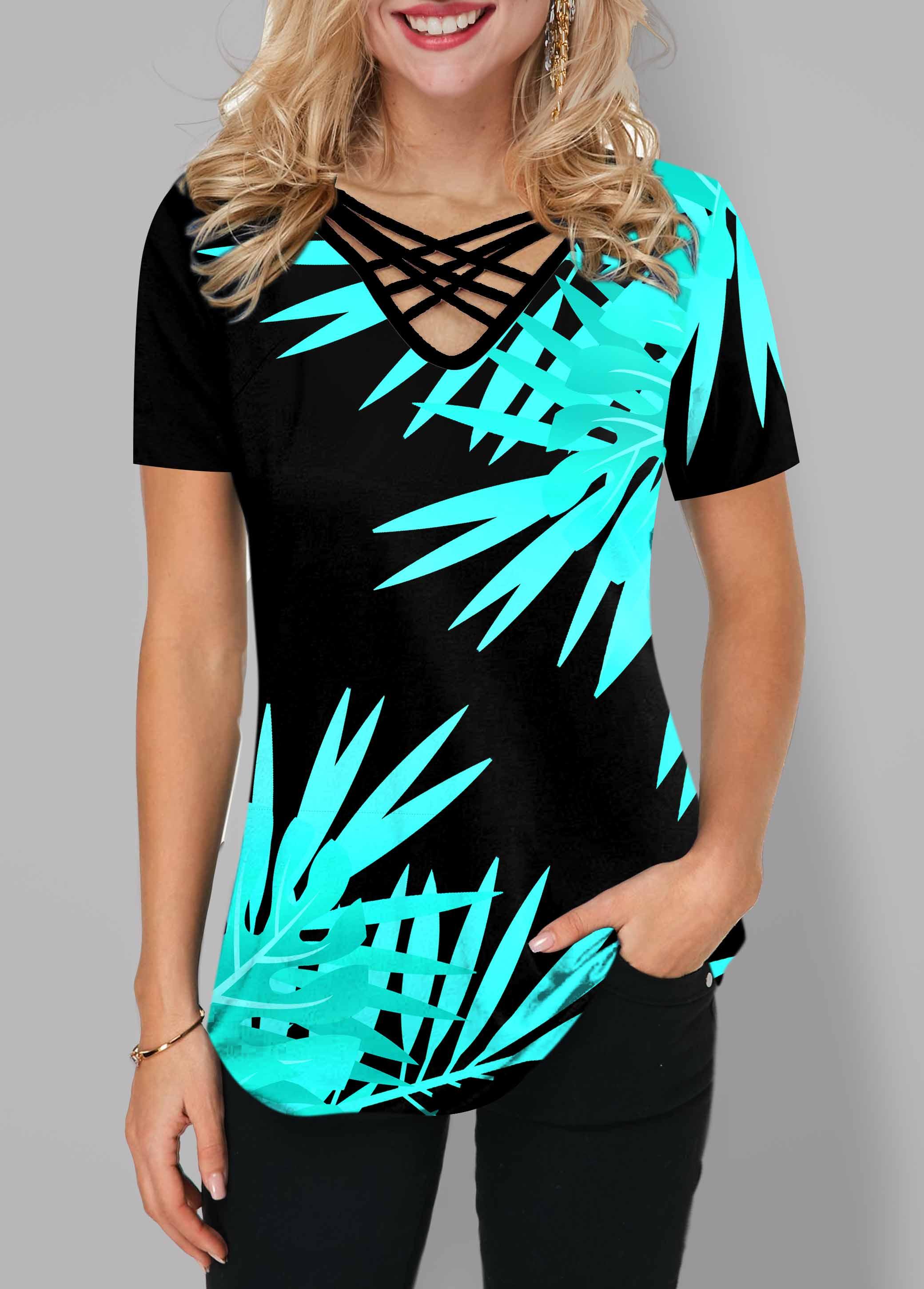 ROTITA Cross Strap Leaf Print Short Sleeve T Shirt