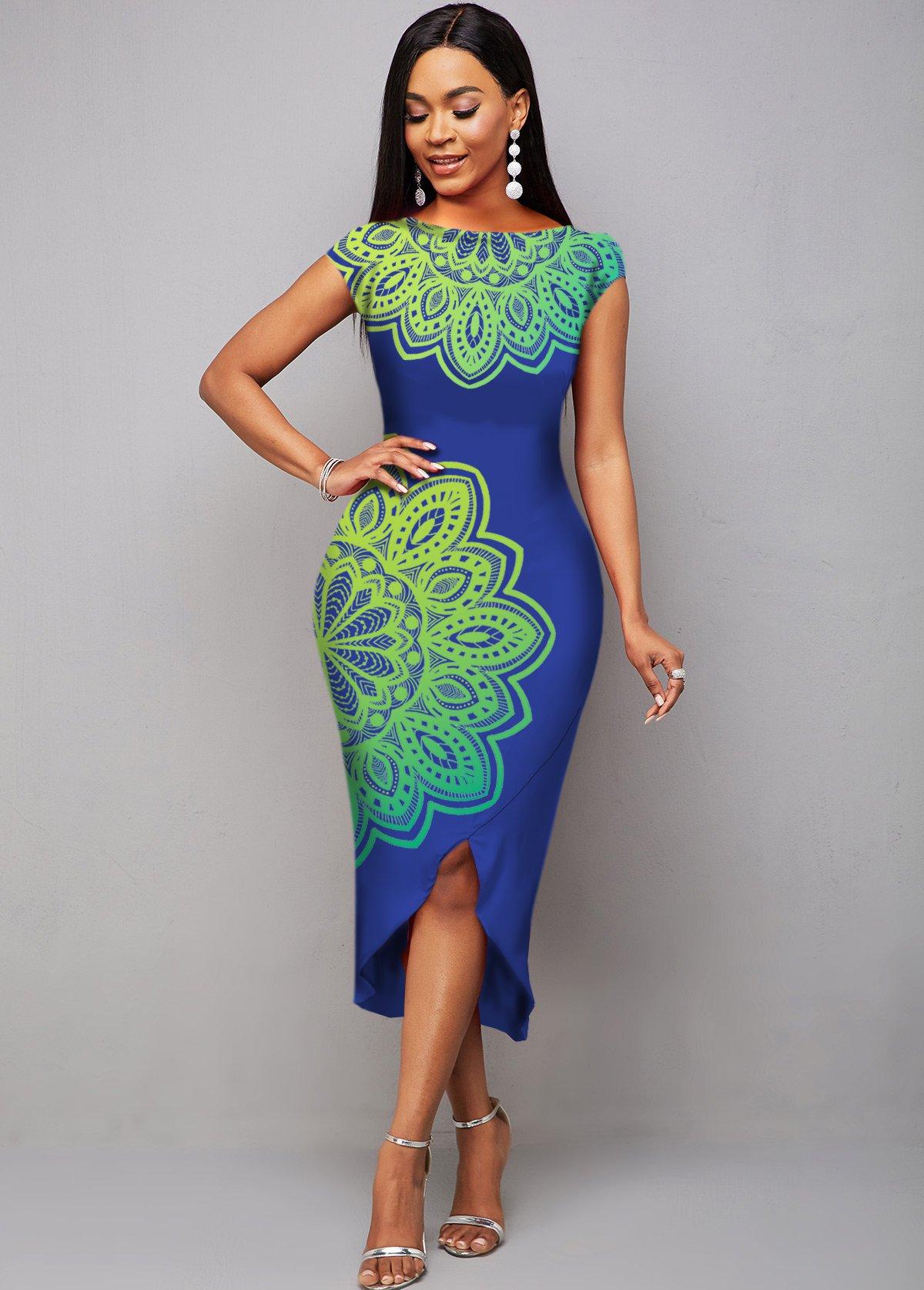 ROTITA Cap Sleeve Tribal Print Asymmetric Hem Dress