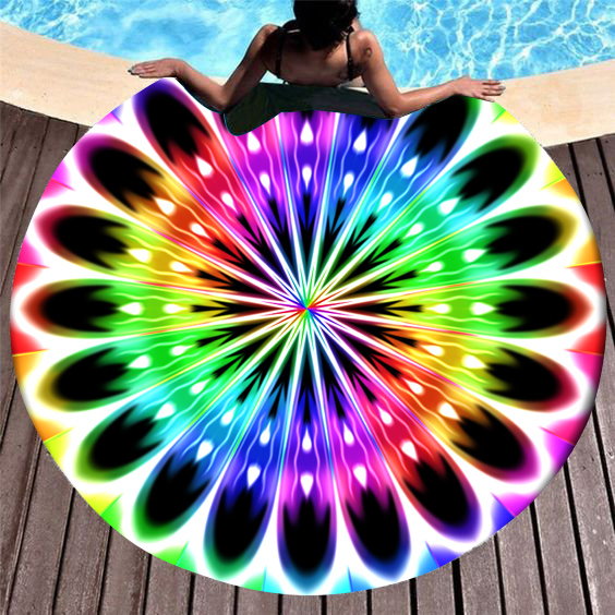 ROTITA Printed Rainbow Color Circular Design Beach Blanket