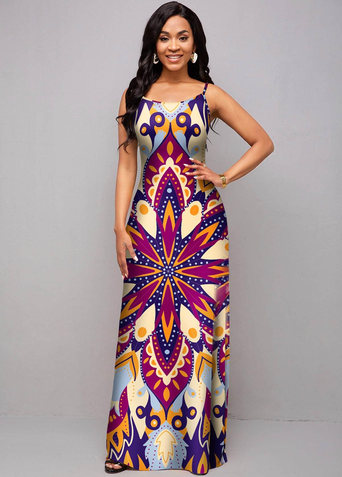 ROTITA Spaghetti Strap Tribal Print Maxi Dress