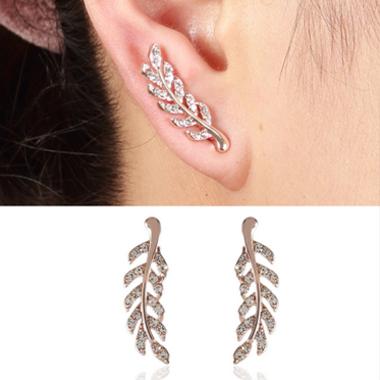 Rhinestone Feathers Shape Pink Earrings