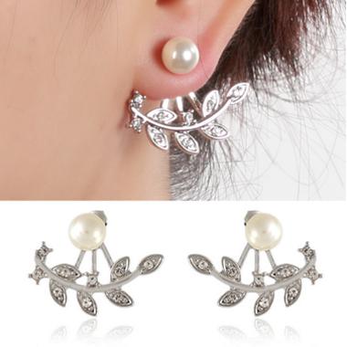 Faux Pearl Leaf Shape Silver Earrings