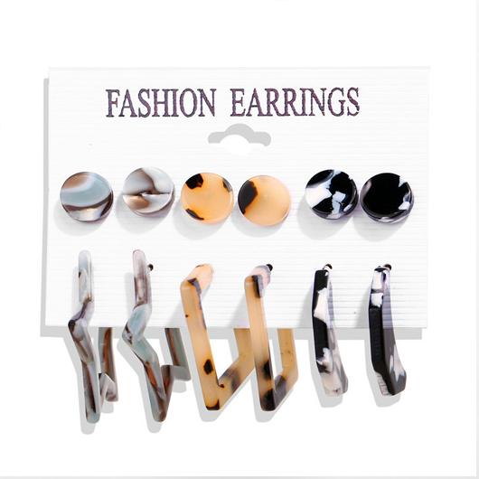 Multi Color Metal Asymmetric Shape Earring Set