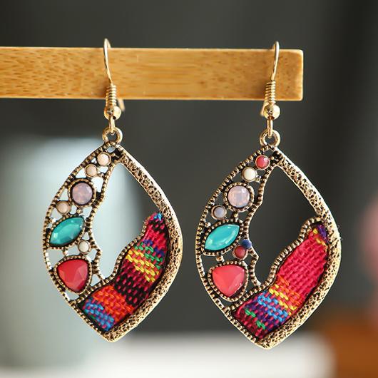 Multi Color Leaf Shape Metal Earrings