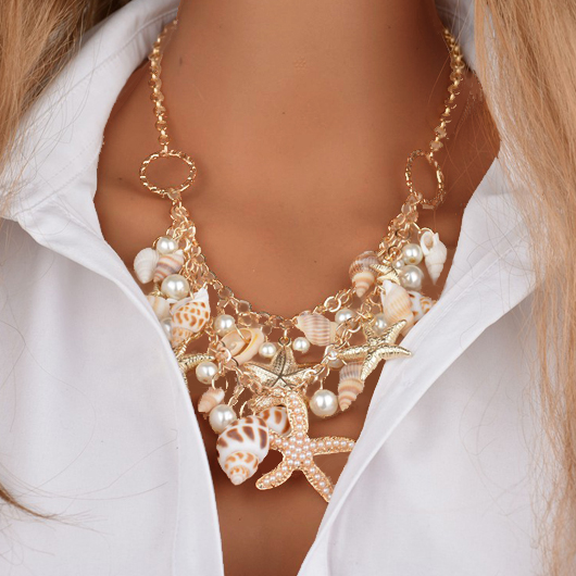 Faux Pearl Whilte Starfish Shape Metal Necklace