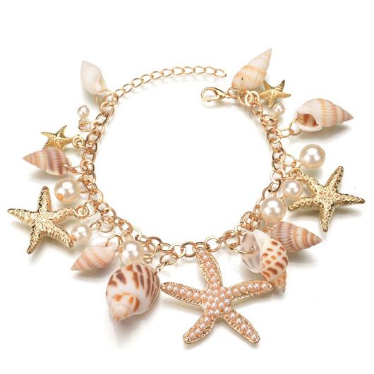 White Starfish Shape Faux Pearl Metal Bracelet
